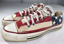 VTG Converse All Star Low Top Sneaker Made USA Flag Unisex 5 1/2 Chuck Taylor - $89.99