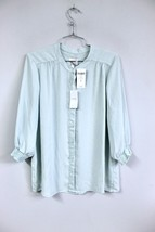 CHICOS Blouse Soft Weave Tawny Top Seafoam Green 3/4 Sleeves Size 1/s/M ... - $34.50