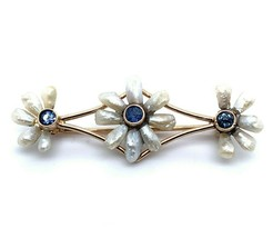 14k Yellow Gold River Pearls and Sapphires Bar Pin (#J5131) - $391.05
