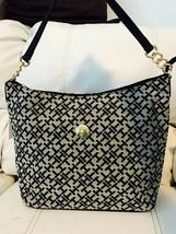 Tommy Hilfiger Authentic BLACK/BEIGE Signature Hobo Bag Handbag Purse Nwt - $49.20