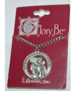 Roman Brand Saint Christopher Medallion Pendant Necklace Silver in Color - $10.99