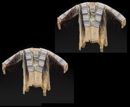 New Native American Handmade Beads Buckskin Buffalo Hide Powwow War Shirt NA139 image 4