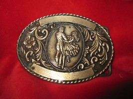 Vintage Belt Buckle 1981 Brass The Kinney Co. Square Dancers - $6.76