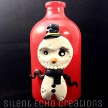 Winter Snowman Decoration, Christmas Vase, Creepy Snowmen, Goth Christmas - $20.00