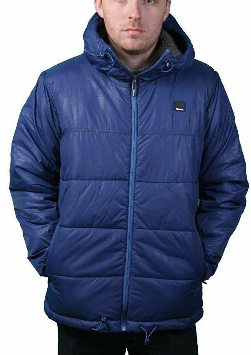 Bench UK Mens Hollis Zip Up Blue Hooded Puffy Winter Jacket Coat NWT