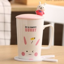 Be a Happy Bunny White Mugs Milk Tea Cup Drinkware + Cover Lid + Spoon +... - $34.95