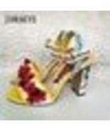 New Retro Printed Flowers Sandals Women bead Pearls Chunky High heels Gl... - $234.89