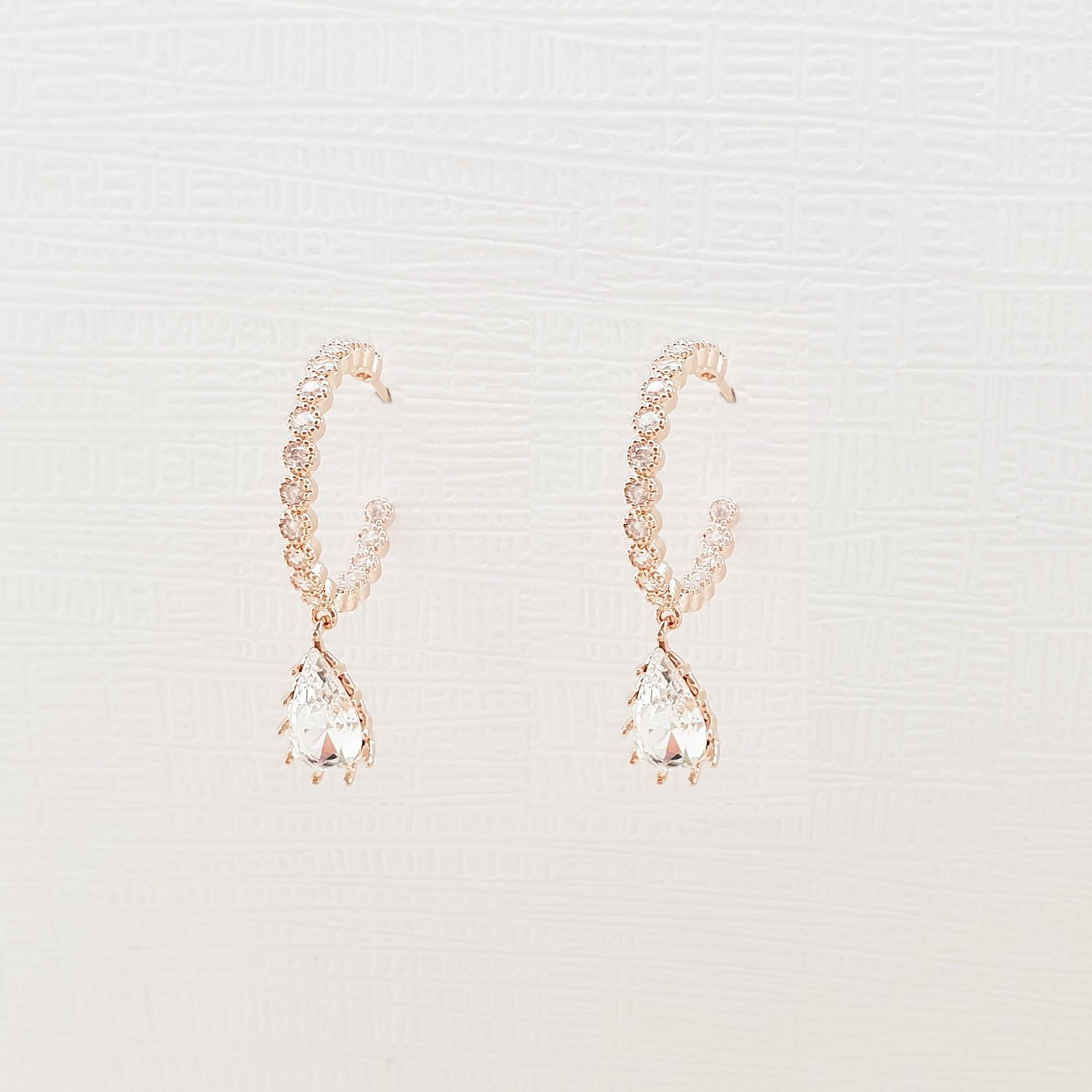 Hoop Water Drop Made With Swarovski Crystal Dangle Earrings Rose Gold Tone Pink image 3
