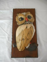 "Vintage 15"" 1970s 3-D Owl on Wood Plaque Wall Decor  - $29.69"