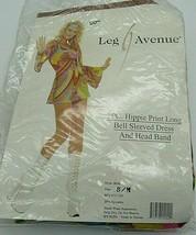 Leg Avenue Women's Hippie Prini Retro Print Bell Sleeves Dress w/ Head Band S/M - $35.63
