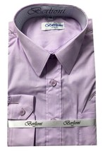 Berlioni Italy Toddlers Kids Young Boys Long Sleeve Lilac Button Up Dress Shirt