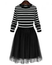 Black Stripe Dress for Teen Girls Black Tutu Dress Long Sleeve - $15.75