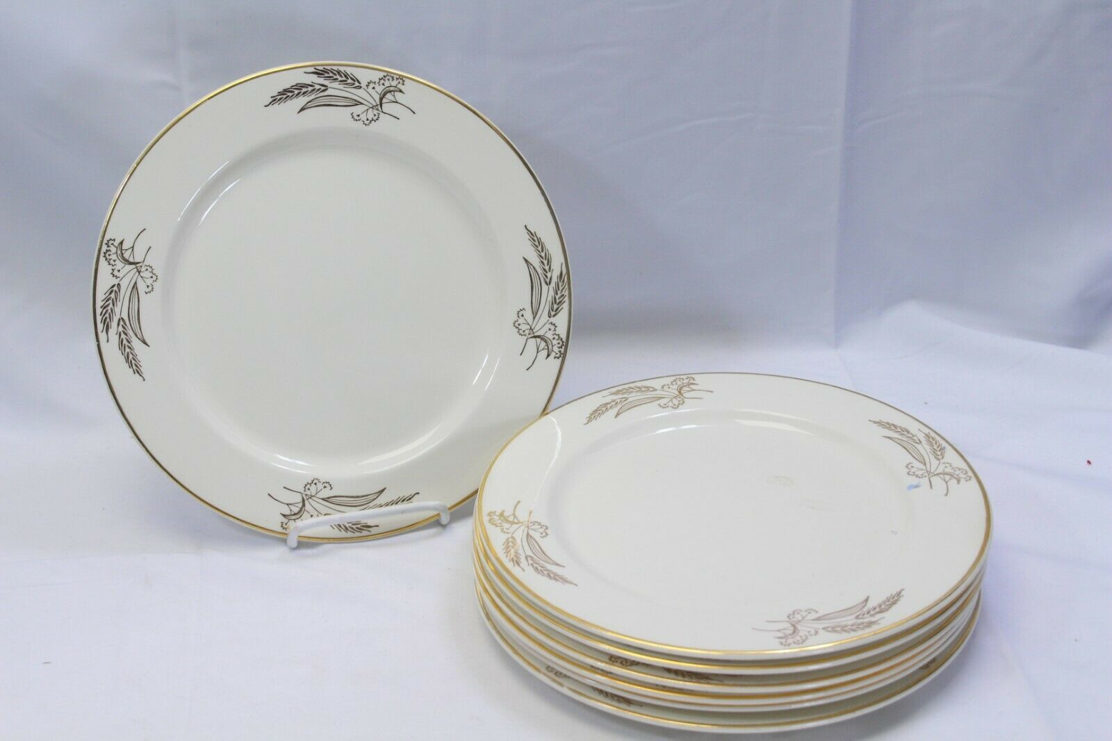 "Lifetime China Prairie Gold Dinner Plates 10.25"" Lot of 6"