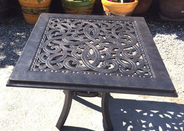 """Patio end table 24"""" square outdoor cast aluminum accent pool side furniture. image 3"""
