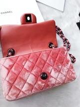 AUTHENTIC CHANEL CORAL PINK VELVET LARGE MINI RECTANGULAR FLAP BAG BLACK HW image 7