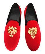 New Handmade Men's Red Velvet Golden Embroidered Slip Ons Loafer Shoes - $129.99+