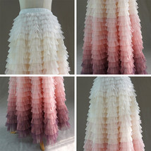Yellow Pink Layered Tulle Skirt Tiered Tulle Party Outfit Plus Size Party Skirt  image 10