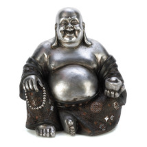 14581B  Happy Sitting Buddha Statue Silver & Black Polyresin Figurine - $14.95