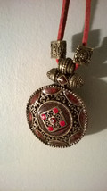 Vintage Red Rhinestone Pendant Necklace Chocker Red Suede Gothic Midevil... - $19.79