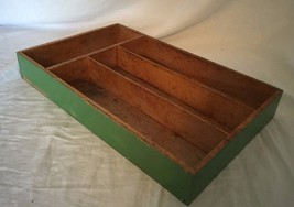 Vintage 1940's Wooden Divided Drawer Flatware Tray Green Wood 20121 - $20.74