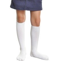 Angelina Girls Cotton 10 Pair Knee High School Socks Size M (6-8 yo) Plain White
