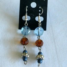 ❤️ Blue & Amber Vintage Beads Dangle Earrings - $11.67