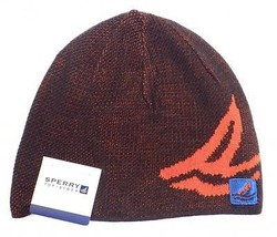 Sperry Top Sider Black & Orange Knit Beanie Skull Cap Adult One Size NWT - $28.21