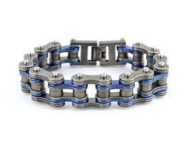 "SK2258 3/4"" Wide Two Tone Antiqued/Candy Blue  Motorcycle Bike Chain Bra... - $26.95"
