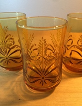 Vintage 70s Libbey Golden Wheat amber juice glasses- set of 3