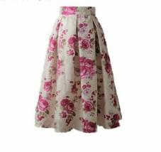 Women Fashion Mid Calf Length Pleated Skater Skirt For Women Zipper Clos... - $29.42