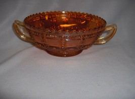 Vintage Impeiral Marigold  Carnival Glass 2 Handles Beaded Block Bowl RARE - $34.65