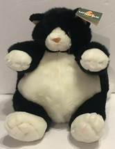 "NWT Unipak Fat Cat Plumpee Black White 9"" Plush Stuffed Animal Round - $23.36"