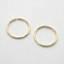 18K YELLOW GOLD ROUND CIRCLE HOOP EARRINGS DIAMETER 10 MM x 1 MM, MADE IN ITALY image 1