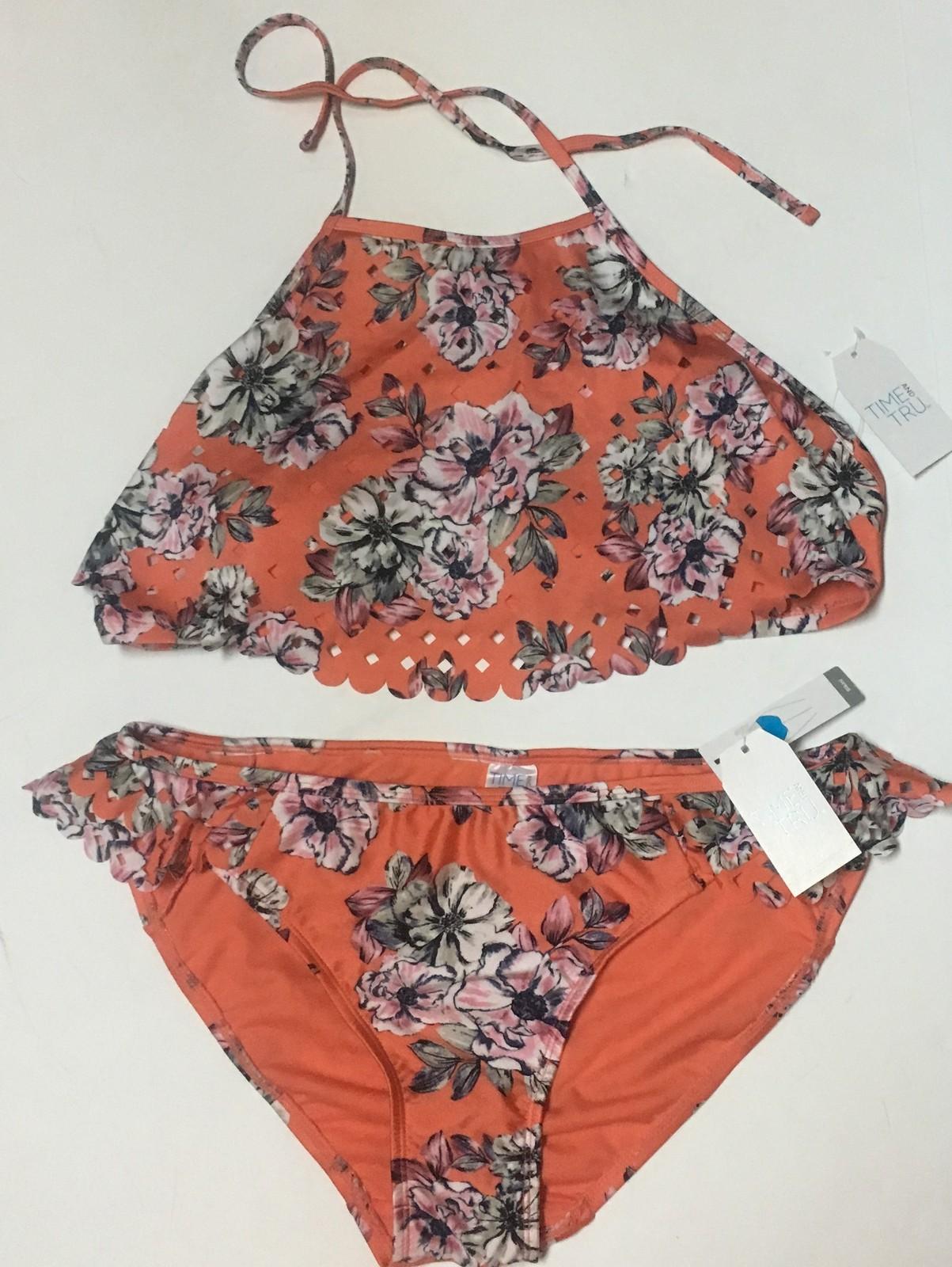 Time & Tru Two Piece Swimsuit Coral Floral Top Sz L (12-14), Bottom Sz M (7-8) image 2