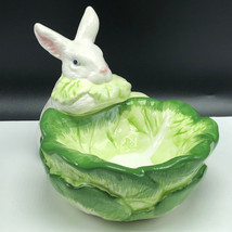 Department 56 Easter Bunny Candy Dish White Rabbit Figurine Bowl Lettuce Statue - $49.45
