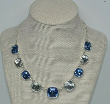 Stunning Trifari Silver Tone Necklace w/ Large Blue & Clear Rhinestone C... - $19.68