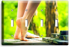 Bare Feet Soles Sexy Legs Light Switch 4 Gang Plate Bathroom Room Home Art Decor - $17.99