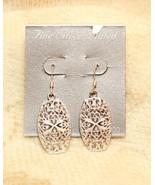 Silver Plated Open Work Dangle Pierced Earrings - $29.68