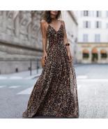 Leopard V Neck Spaghetti Strap Maxi Dress - $43.95