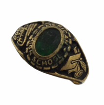 Vtg Class Ring 6 Lot Yellow Gold Tone Metal Semi Precious Red Blue Green 42.1gr image 4