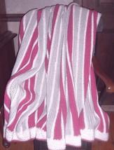 Large Handmade Acrylic Gray, Mauve Pink & White  AFGHAN Throw Blanket 70... - ₹1,408.06 INR