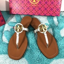 TORY BURCH Mini Miller Sandals Silver Metallic Size 7.5 New In Box - $129.99