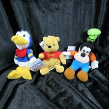 Disney Lot of 3 Beanbag Plush Goofy Winnie the Pooh Donald Duck Stocking... - $24.99
