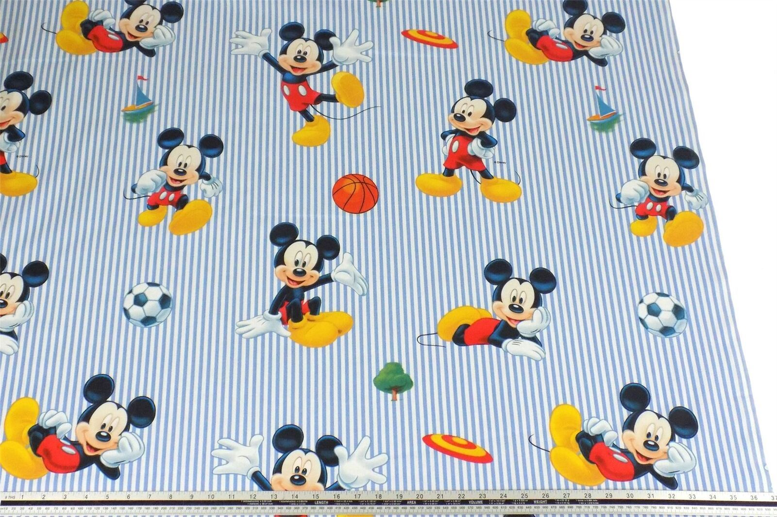 Disney Blue Striped Mickey Mouse Football 100% Cotton Fabric Material *3 Sizes*
