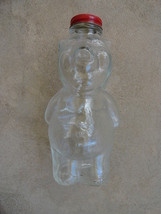 New England Co. Piggy Bank Vintage Clear Glass Syrup Bottle 1950s - $24.99