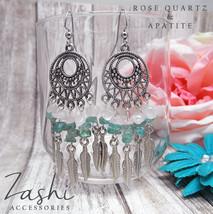 Rose Quartz and Apatite Dreamcatcher Earrings - $20.00