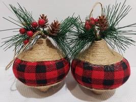 Christmas Buffalo Check Star Black Red fabric Ornaments Set of 2 - $17.99