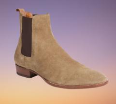 Handmade Men Chelsea Beige High Ankle Boots image 1