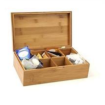 Mind Reader Bamboo Tea Box Storage Organizer, 8 Compartment Chest Box, N... - $19.69