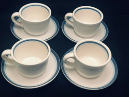 Pfaltzgraff No. 100 Stoneware Cups And Saucers (8 Pc) Blue Trim - $33.98